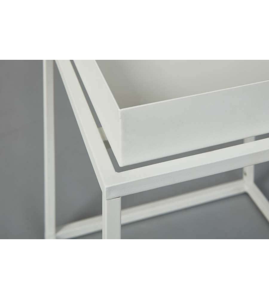 Tavolino Club New York 35 x 35 x 40 Metal Bianco